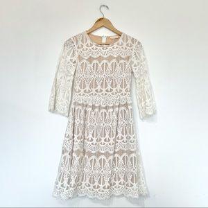 Bohme lace overlay white dress knee length